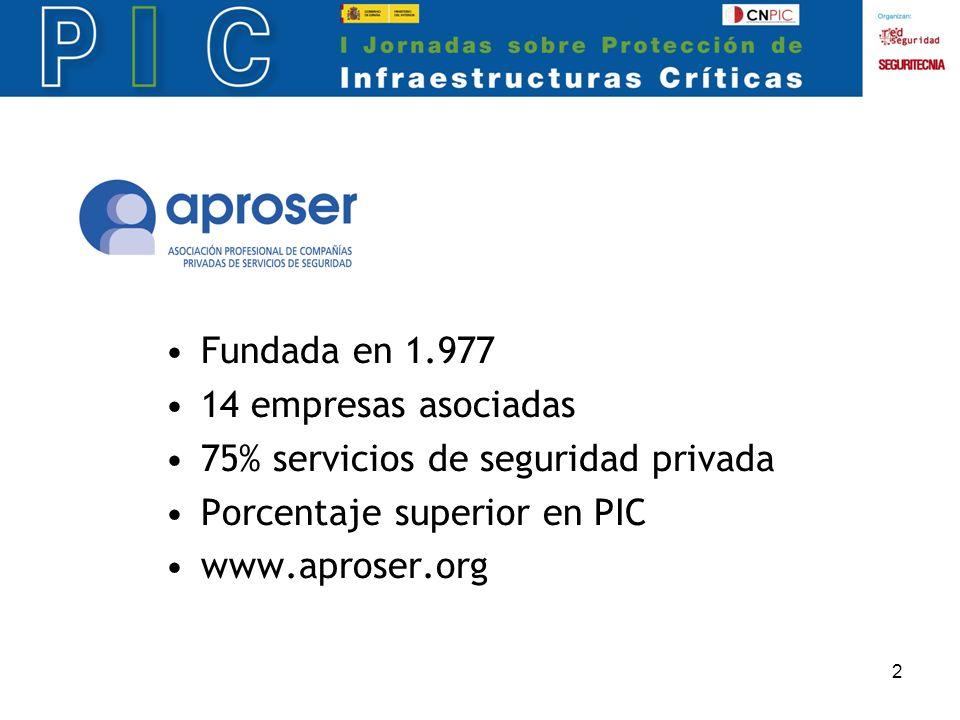2 Fundada en 1.977 14 empresas asociadas 75% servicios de seguridad privada Porcentaje superior en PIC www.aproser.org