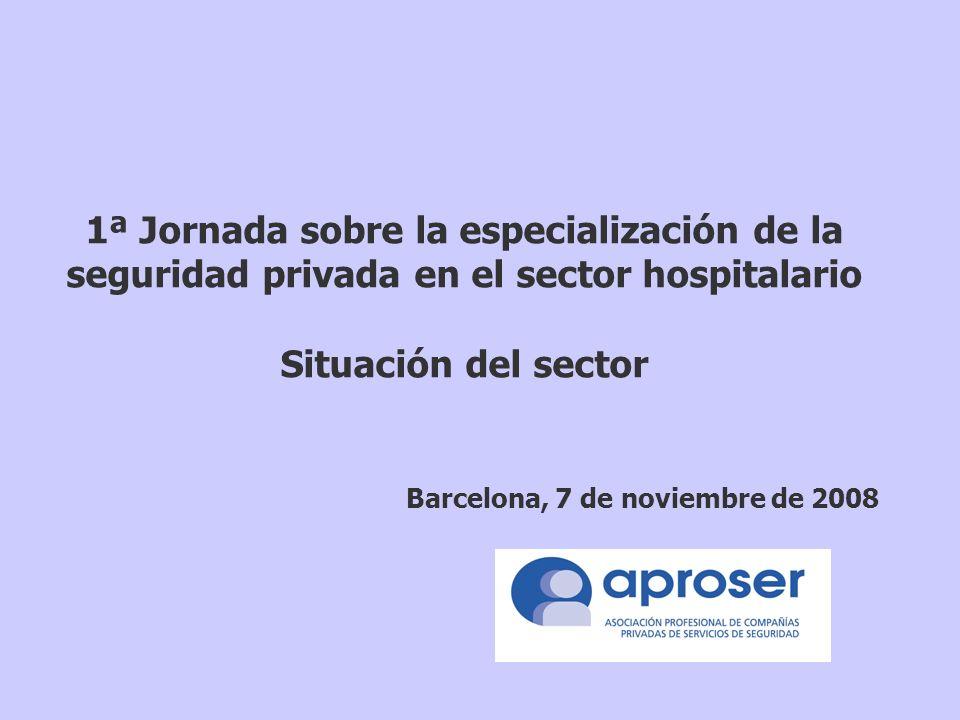 1ª Jornada sobre la especialización de la seguridad privada en el sector hospitalario Situación del sector Barcelona, 7 de noviembre de 2008