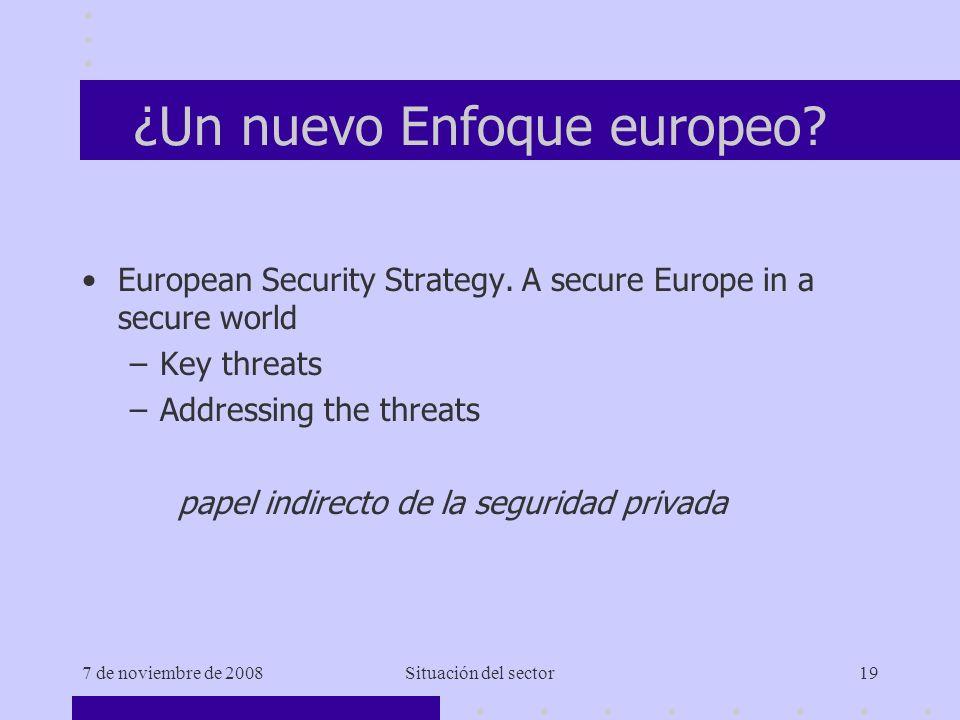 7 de noviembre de 2008Situación del sector19 ¿Un nuevo Enfoque europeo.