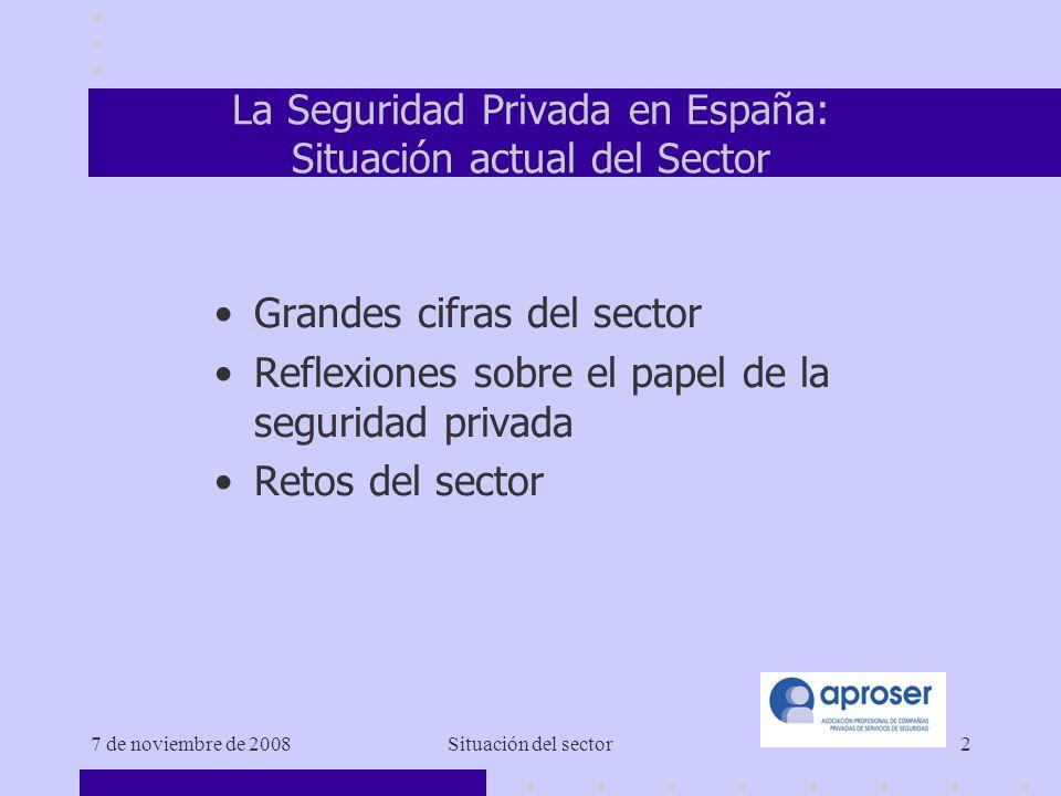 7 de noviembre de 2008Situación del sector2 La Seguridad Privada en España: Situación actual del Sector Grandes cifras del sector Reflexiones sobre el papel de la seguridad privada Retos del sector