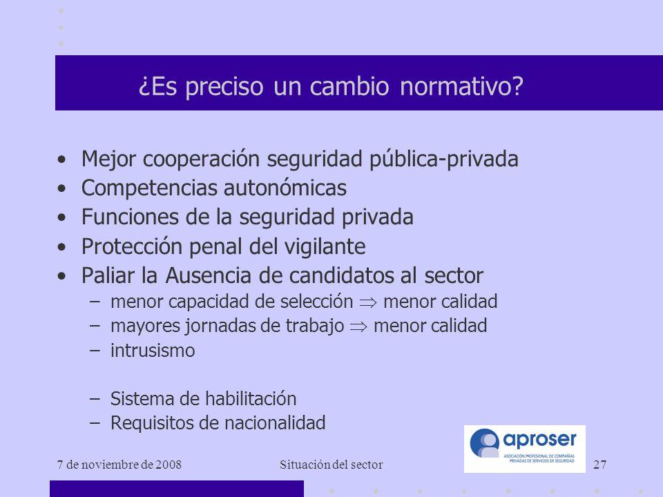 7 de noviembre de 2008Situación del sector27 ¿Es preciso un cambio normativo.
