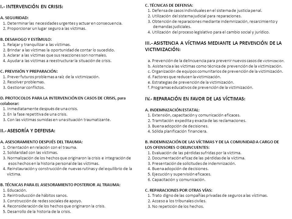 I.- INTERVENCIÓN EN CRISIS: A. SEGURIDAD: 1.