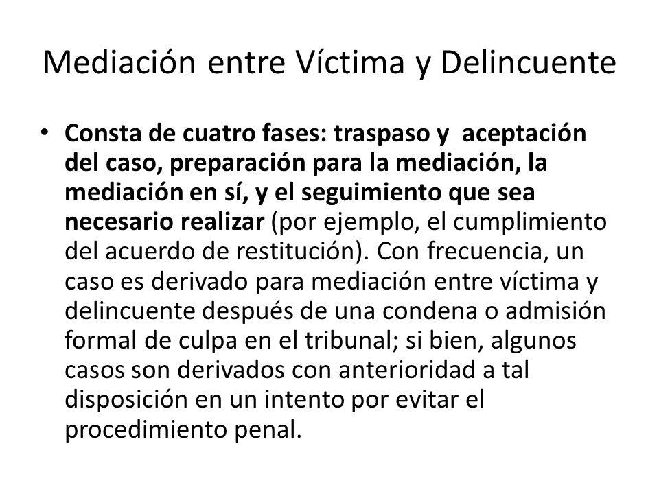 Mediación entre Víctima y Delincuente Consta de cuatro fases: traspaso y aceptación del caso, preparación para la mediación, la mediación en sí, y el