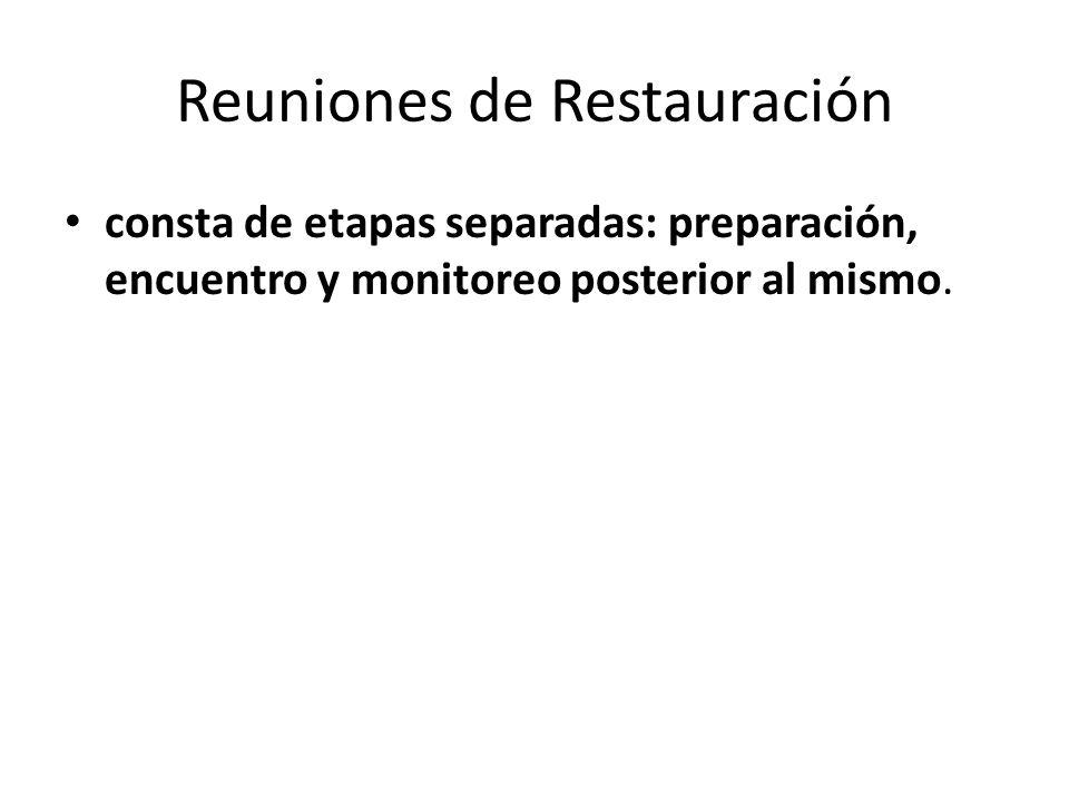 Reuniones de Restauración consta de etapas separadas: preparación, encuentro y monitoreo posterior al mismo.