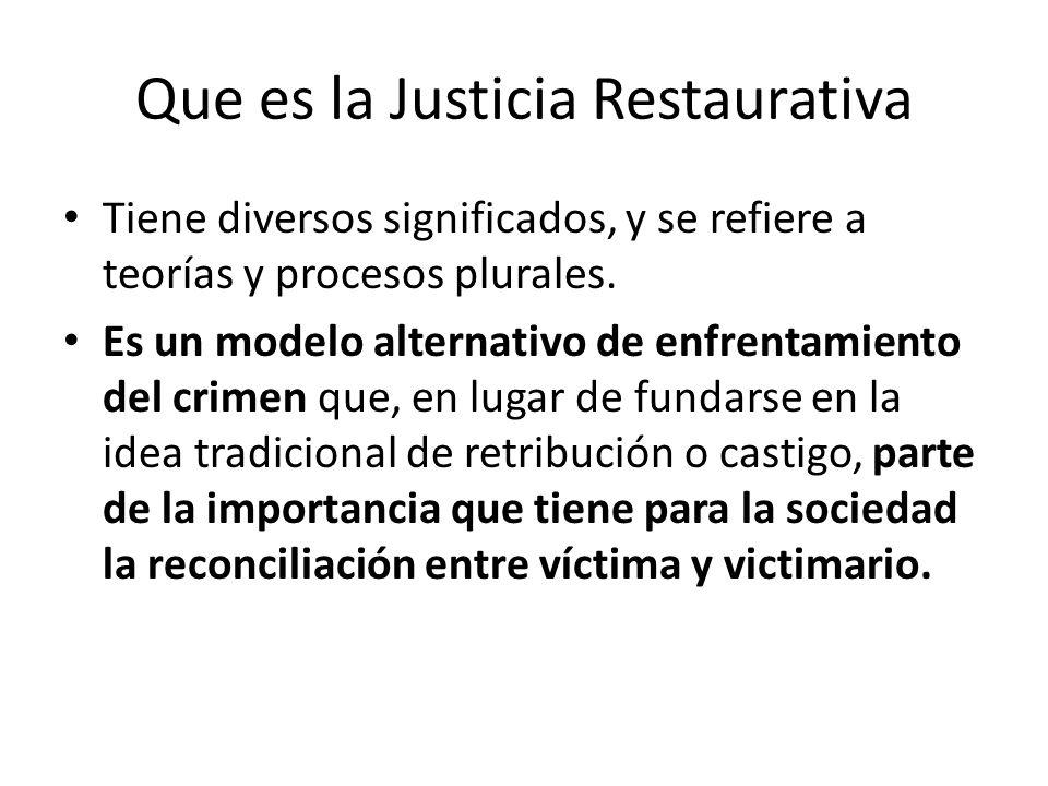Que es la Justicia Restaurativa Tiene diversos significados, y se refiere a teorías y procesos plurales. Es un modelo alternativo de enfrentamiento de