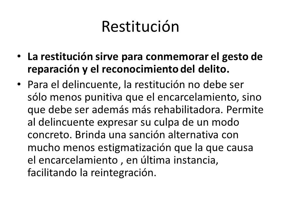 Restitución La restitución sirve para conmemorar el gesto de reparación y el reconocimiento del delito. Para el delincuente, la restitución no debe se