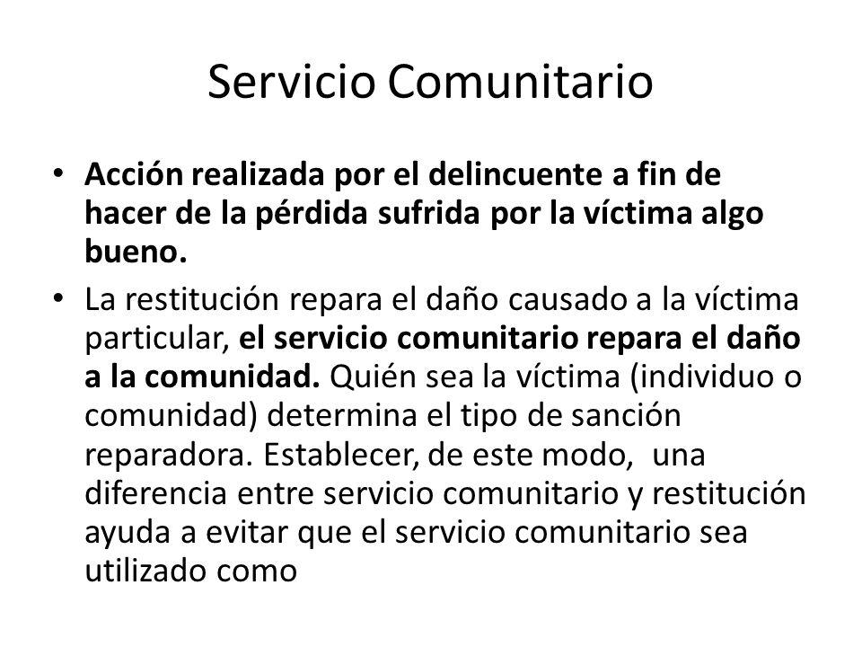 Servicio Comunitario Acción realizada por el delincuente a fin de hacer de la pérdida sufrida por la víctima algo bueno. La restitución repara el daño