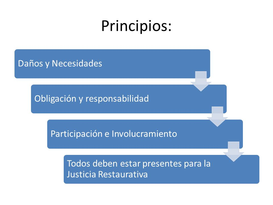 Principios: Daños y NecesidadesObligación y responsabilidadParticipación e Involucramiento Todos deben estar presentes para la Justicia Restaurativa