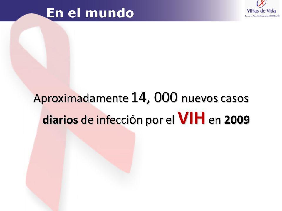 Aproximadamente 14, 000 nuevos casos diarios de infecci ó n por el VIH en 2009 En el mundo