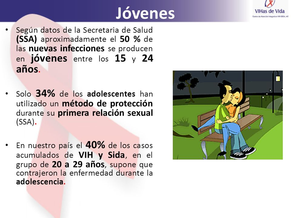 Jóvenes Según datos de la Secretaria de Salud (SSA) aproximadamente el 50 % de las nuevas infecciones se producen en jóvenes entre los 15 y 24 años. S