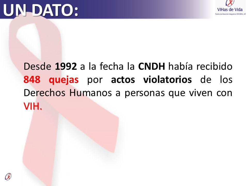 UN DATO: VIH. Desde 1992 a la fecha la CNDH había recibido 848 quejas por actos violatorios de los Derechos Humanos a personas que viven con VIH.