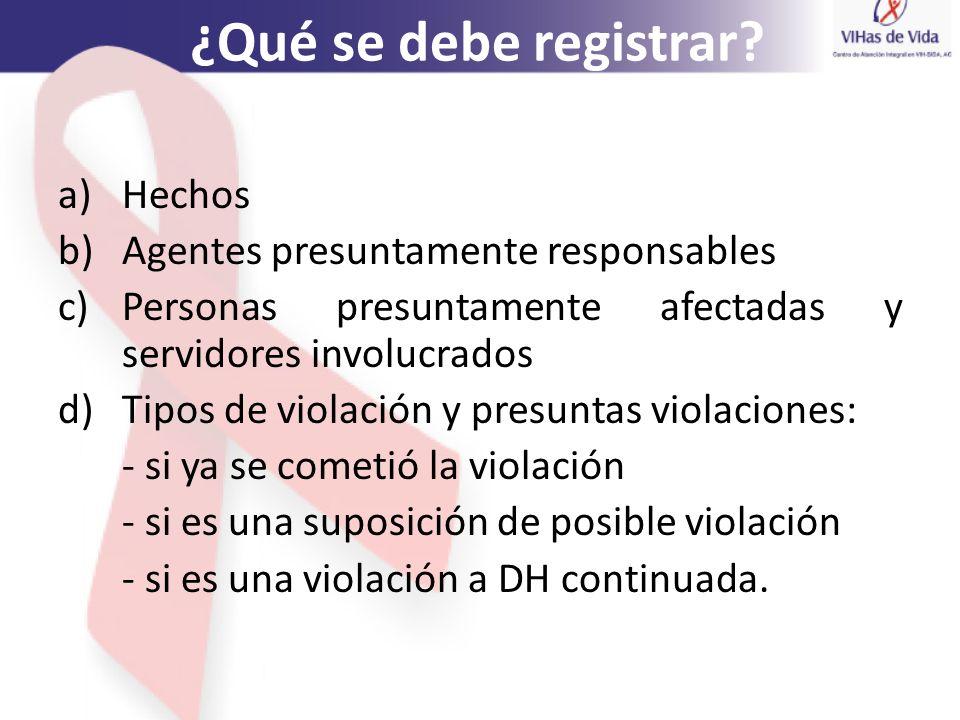 ¿Qué se debe registrar? a)Hechos b)Agentes presuntamente responsables c)Personas presuntamente afectadas y servidores involucrados d)Tipos de violació