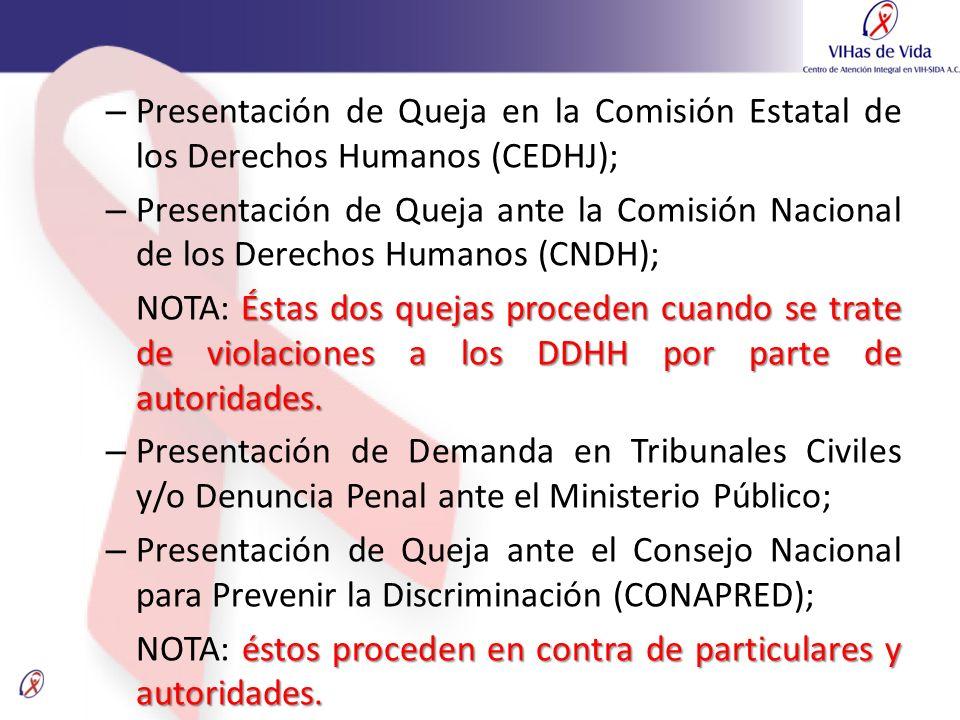 – Presentación de Queja en la Comisión Estatal de los Derechos Humanos (CEDHJ); – Presentación de Queja ante la Comisión Nacional de los Derechos Huma