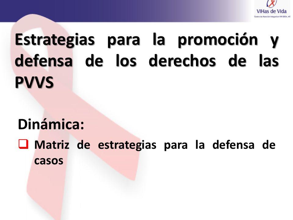 Dinámica: Matriz de estrategias para la defensa de casos Estrategias para la promoción y defensa de los derechos de las PVVS