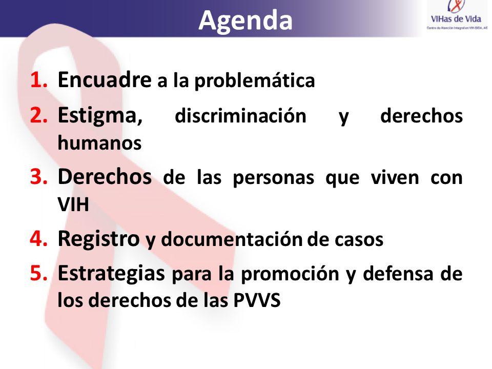 Agenda 1.Encuadre a la problemática 2.Estigma, discriminación y derechos humanos 3.Derechos de las personas que viven con VIH 4.Registro y documentaci