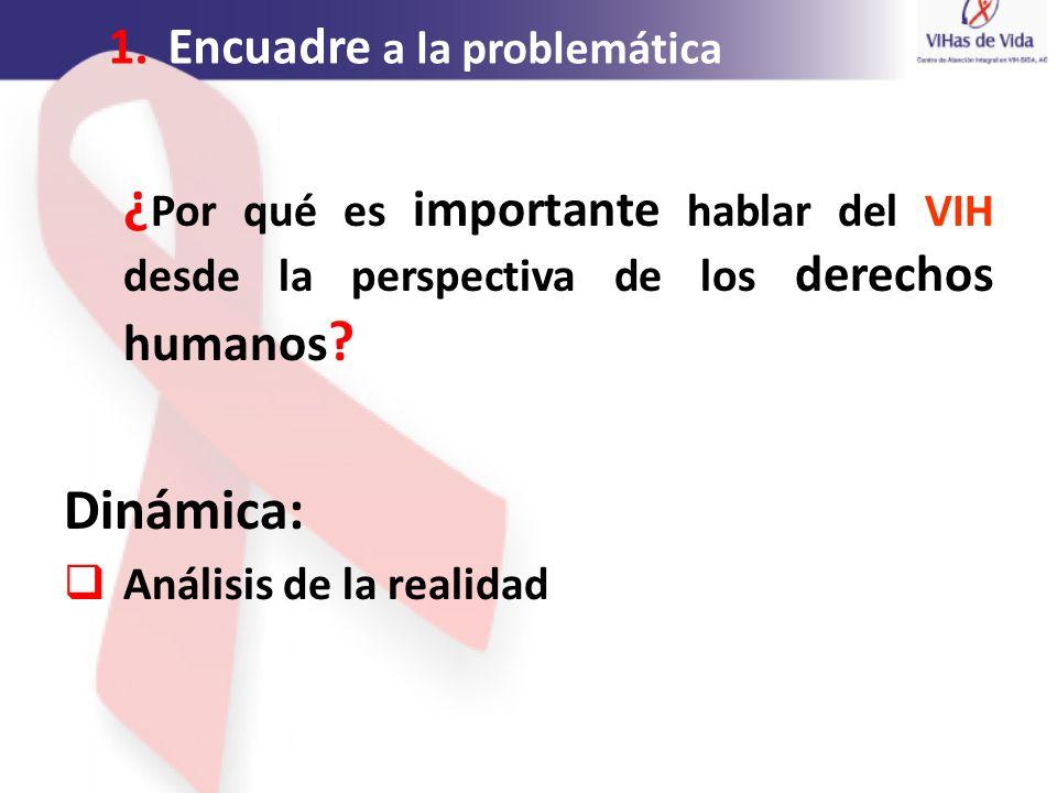 1.Encuadre a la problemática ¿ Por qué es importante hablar del VIH desde la perspectiva de los derechos humanos ? Dinámica: Análisis de la realidad