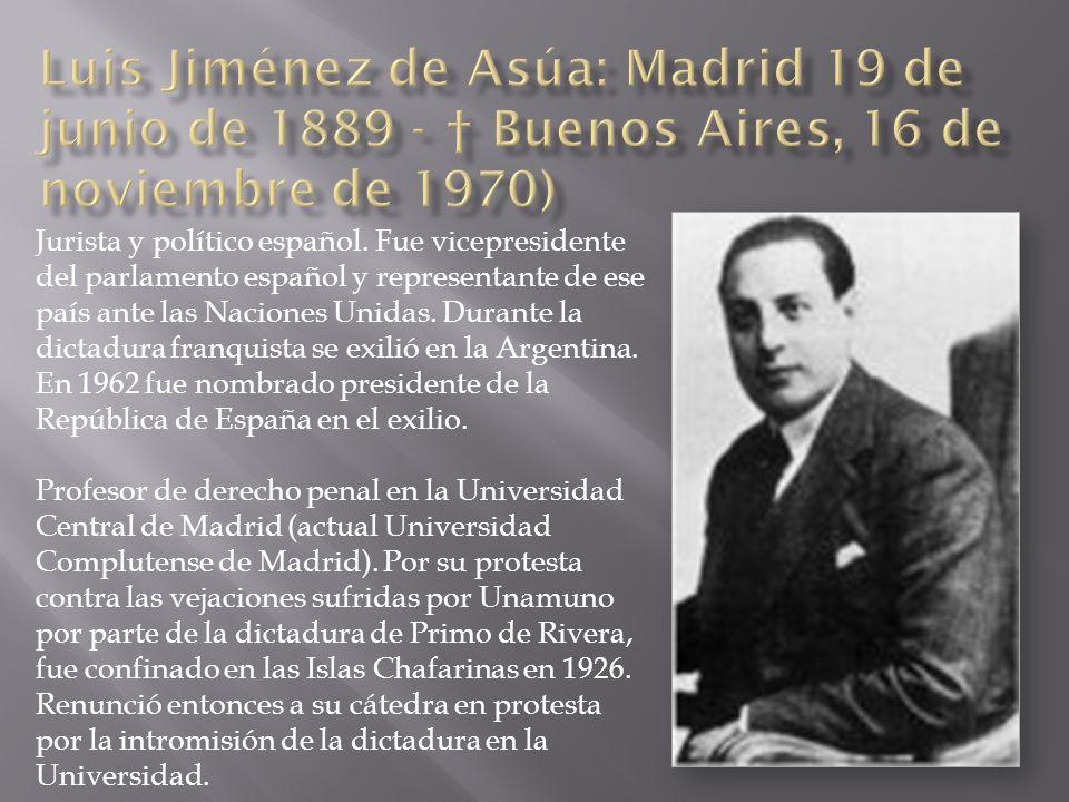 Jurista y político español. Fue vicepresidente del parlamento español y representante de ese país ante las Naciones Unidas. Durante la dictadura franq