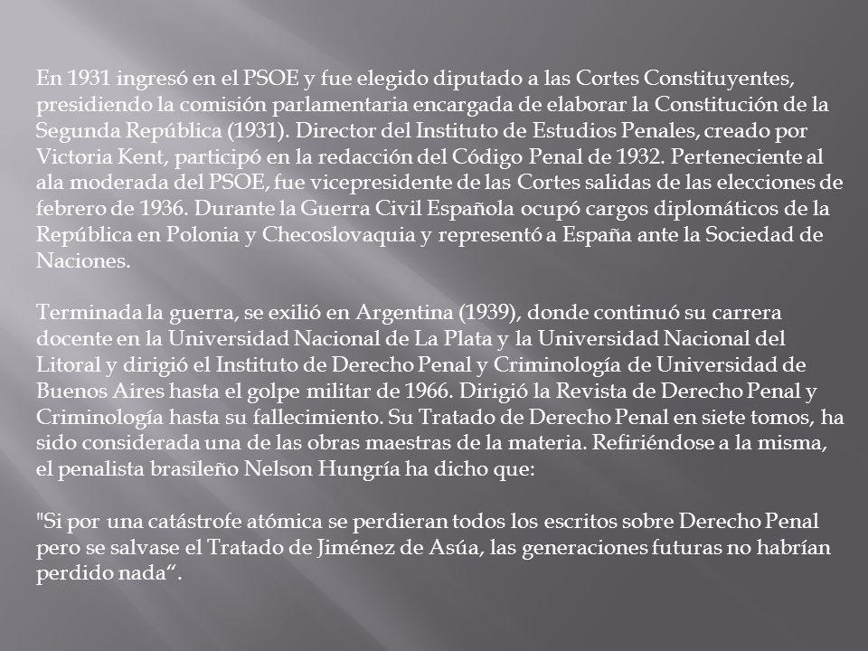 En 1931 ingresó en el PSOE y fue elegido diputado a las Cortes Constituyentes, presidiendo la comisión parlamentaria encargada de elaborar la Constitu