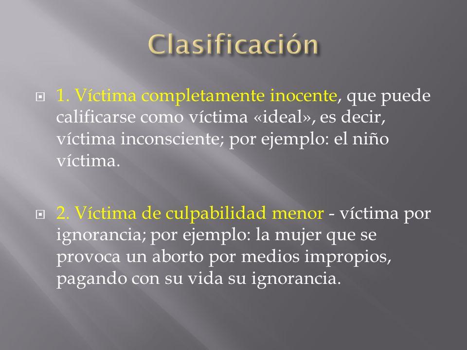 1. Víctima completamente inocente, que puede calificarse como víctima «ideal», es decir, víctima inconsciente; por ejemplo: el niño víctima. 2. Víctim