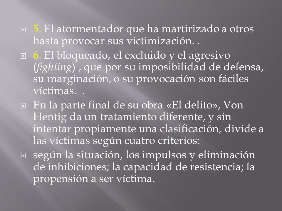 5. El atormentador que ha martirizado a otros hasta provocar sus victimización.. 6. El bloqueado, el excluido y el agresivo ( fighting ), que por su i
