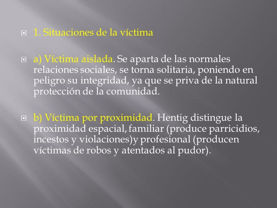 1. Situaciones de la víctima a) Víctima aislada. Se aparta de las normales relaciones sociales, se torna solitaria, poniendo en peligro su integridad,