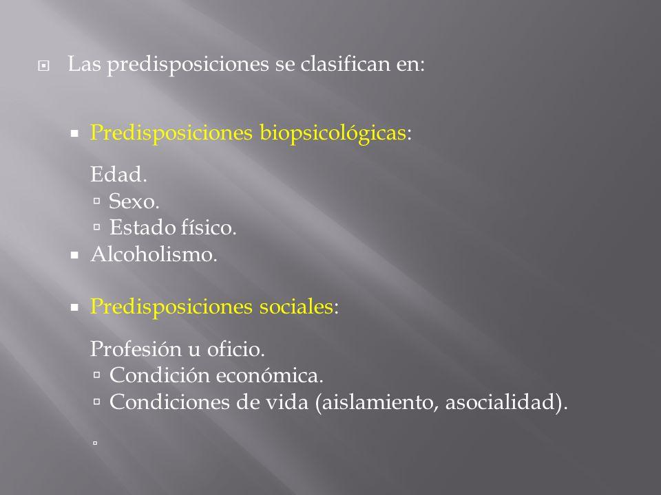 Las predisposiciones se clasifican en: Predisposiciones biopsicológicas: Edad. Sexo. Estado físico. Alcoholismo. Predisposiciones sociales: Profesión
