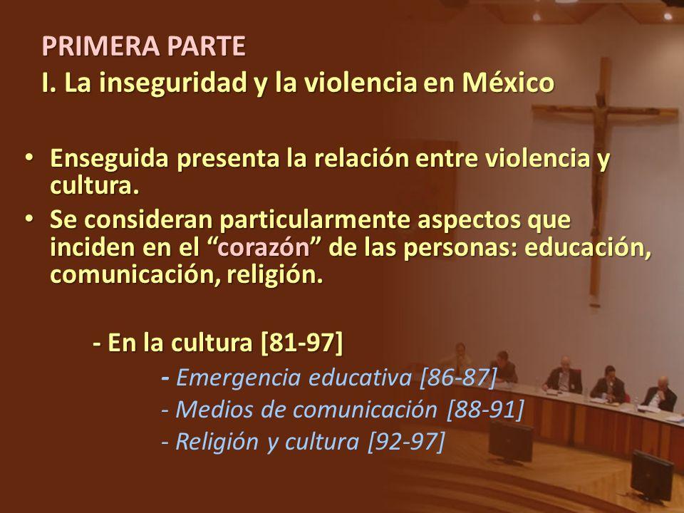 Enseguida presenta la relación entre violencia y cultura. Enseguida presenta la relación entre violencia y cultura. Se consideran particularmente aspe