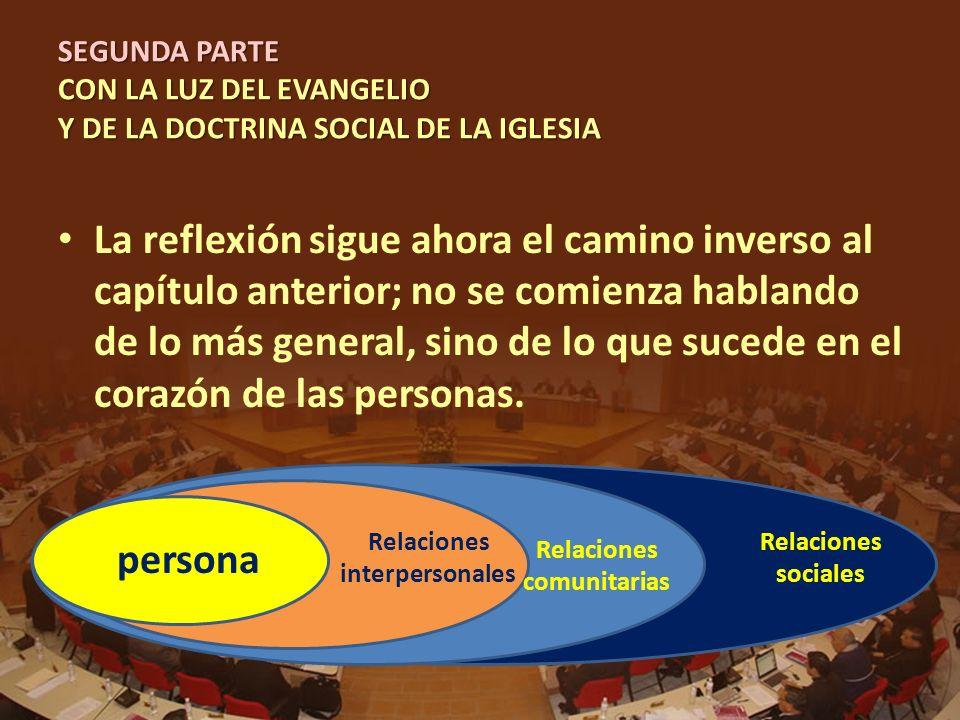SEGUNDA PARTE CON LA LUZ DEL EVANGELIO Y DE LA DOCTRINA SOCIAL DE LA IGLESIA La reflexión sigue ahora el camino inverso al capítulo anterior; no se co