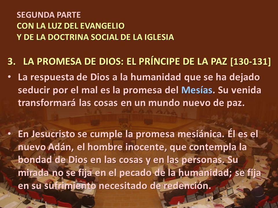 SEGUNDA PARTE CON LA LUZ DEL EVANGELIO Y DE LA DOCTRINA SOCIAL DE LA IGLESIA 3.LA PROMESA DE DIOS: EL PRÍNCIPE DE LA PAZ [130-131] La respuesta de Dio