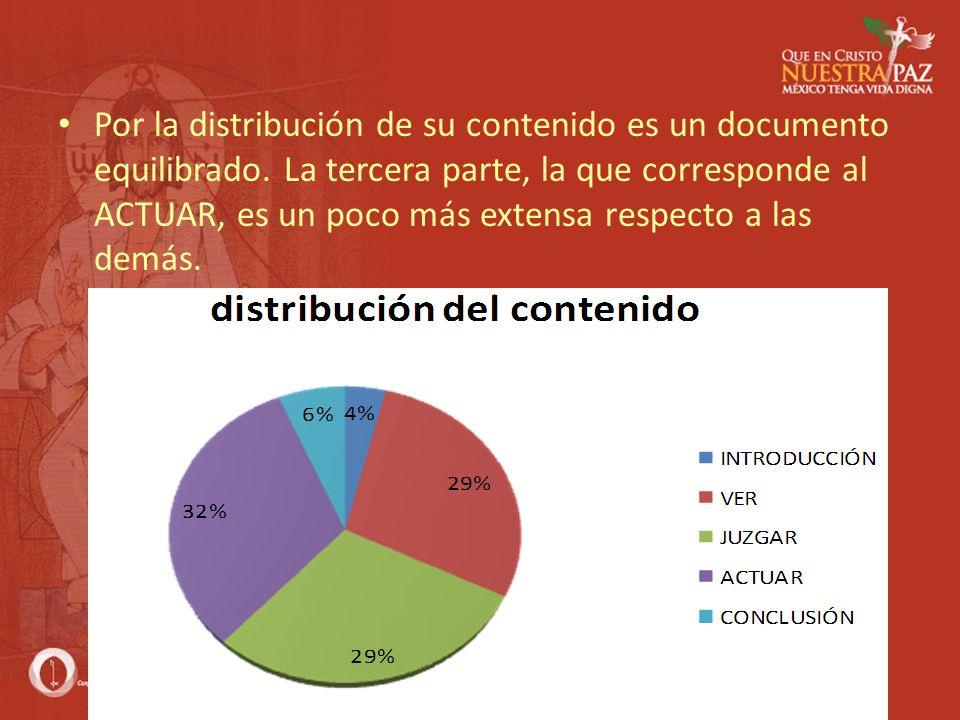 Por la distribución de su contenido es un documento equilibrado. La tercera parte, la que corresponde al ACTUAR, es un poco más extensa respecto a las