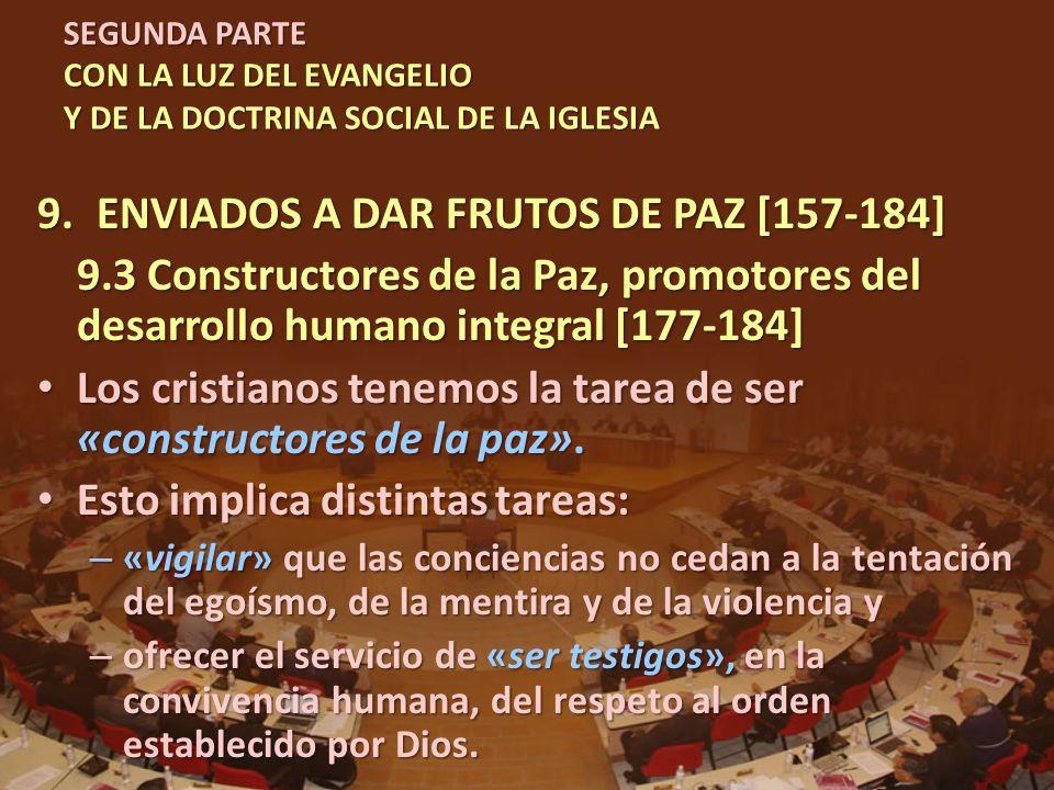 SEGUNDA PARTE CON LA LUZ DEL EVANGELIO Y DE LA DOCTRINA SOCIAL DE LA IGLESIA 9.ENVIADOS A DAR FRUTOS DE PAZ [157-184] 9.3 Constructores de la Paz, pro