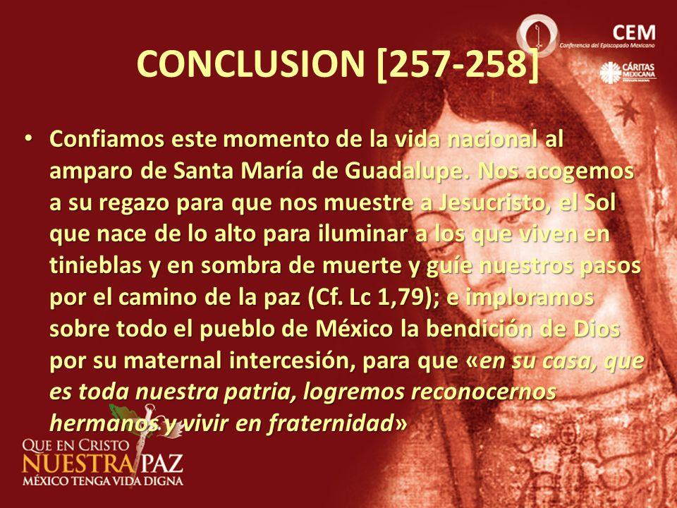 CONCLUSION [257-258] Confiamos este momento de la vida nacional al amparo de Santa María de Guadalupe. Nos acogemos a su regazo para que nos muestre a