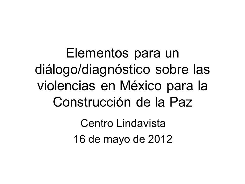 Elementos para un diálogo/diagnóstico sobre las violencias en México para la Construcción de la Paz Centro Lindavista 16 de mayo de 2012