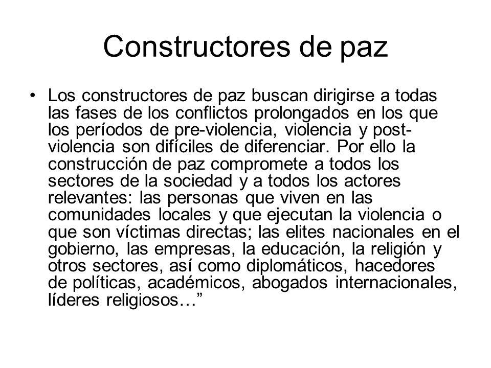 Constructores de paz Los constructores de paz buscan dirigirse a todas las fases de los conflictos prolongados en los que los períodos de pre-violencia, violencia y post- violencia son difíciles de diferenciar.