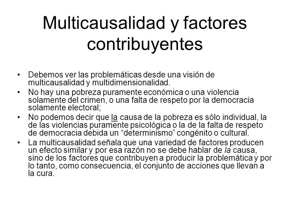 Multicausalidad y factores contribuyentes Debemos ver las problemáticas desde una visión de multicausalidad y multidimensionalidad.