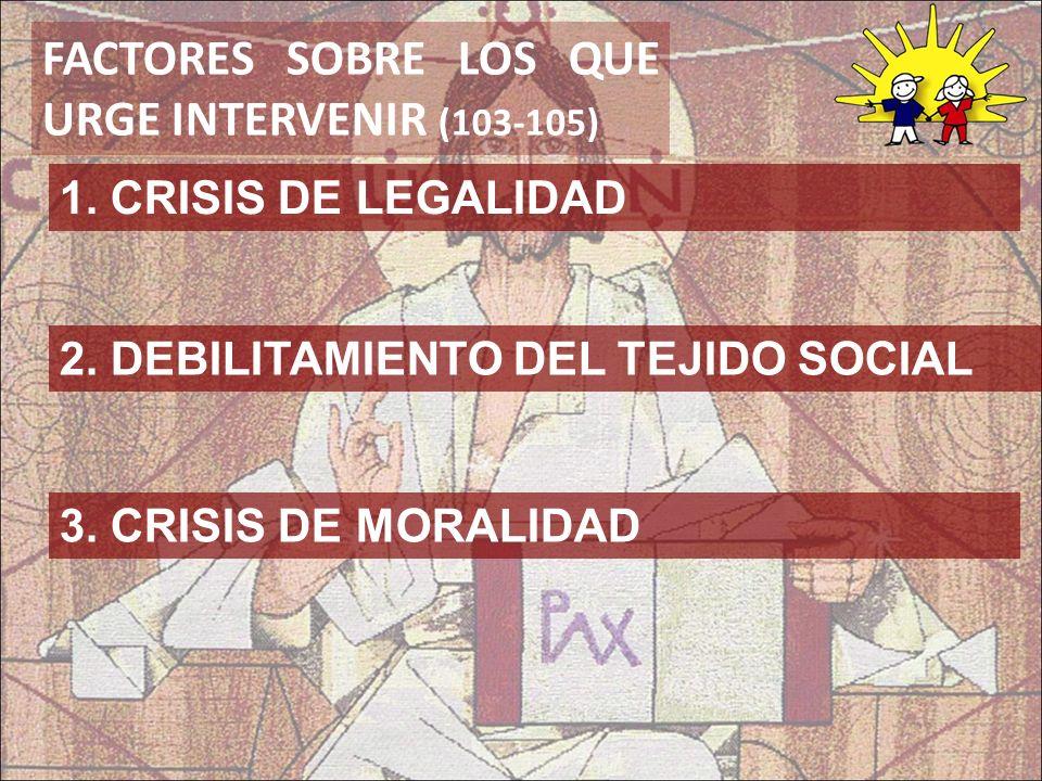 FACTORES SOBRE LOS QUE URGE INTERVENIR (103-105) 2. DEBILITAMIENTO DEL TEJIDO SOCIAL 1. CRISIS DE LEGALIDAD 3. CRISIS DE MORALIDAD