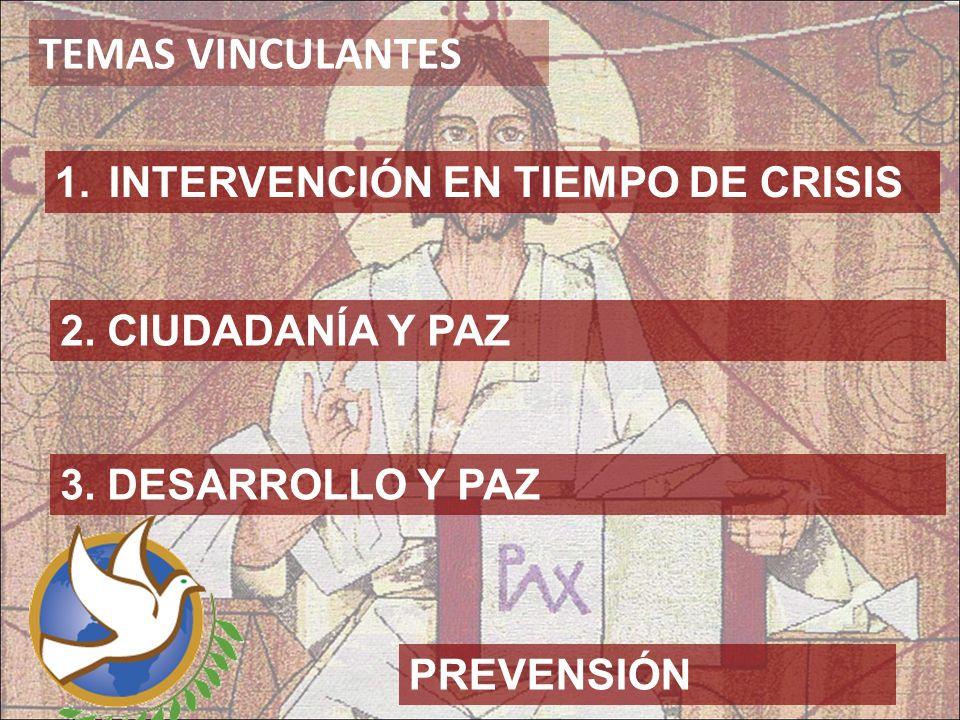 TEMAS VINCULANTES 2. CIUDADANÍA Y PAZ 1.INTERVENCIÓN EN TIEMPO DE CRISIS 3. DESARROLLO Y PAZ PREVENSIÓN