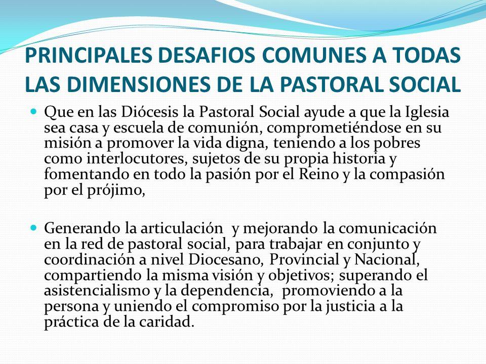 SERVICIOS QUE SE ESPERARIAN DE LA COMISION EPISCOPAL PARA LA PASTORAL SOCIAL INTERCAMBIO DE EXPERIENCIAS: Facilitar el intercambio de experiencias, a través de una base de datos de experiencias de pastoral social realizadas en cada diócesis.