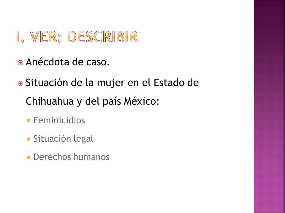 Anécdota de caso. Situación de la mujer en el Estado de Chihuahua y del país México: Feminicidios Situación legal Derechos humanos