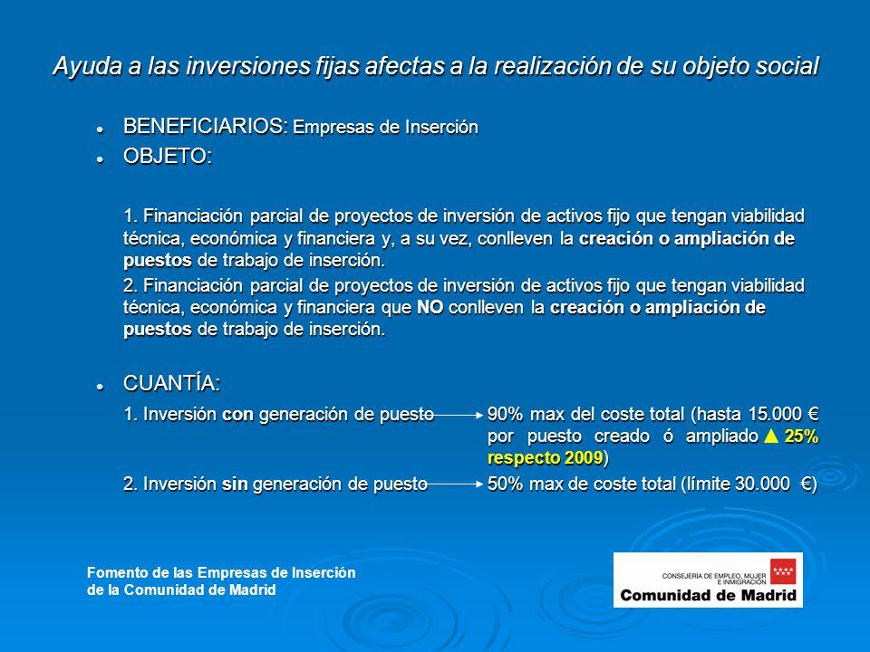 Ayuda a las inversiones fijas afectas a la realización de su objeto social BENEFICIARIOS: Empresas de Inserción BENEFICIARIOS: Empresas de Inserción OBJETO: OBJETO: 1.