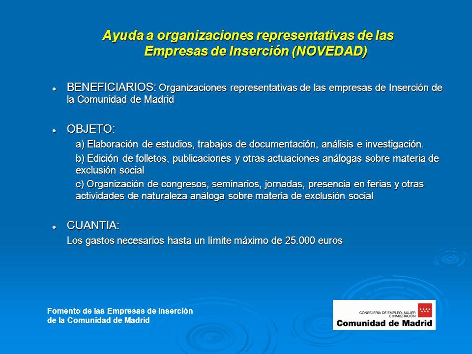 Ayuda a organizaciones representativas de las Empresas de Inserción (NOVEDAD) BENEFICIARIOS: Organizaciones representativas de las empresas de Inserción de la Comunidad de Madrid BENEFICIARIOS: Organizaciones representativas de las empresas de Inserción de la Comunidad de Madrid OBJETO: OBJETO: a) Elaboración de estudios, trabajos de documentación, análisis e investigación.