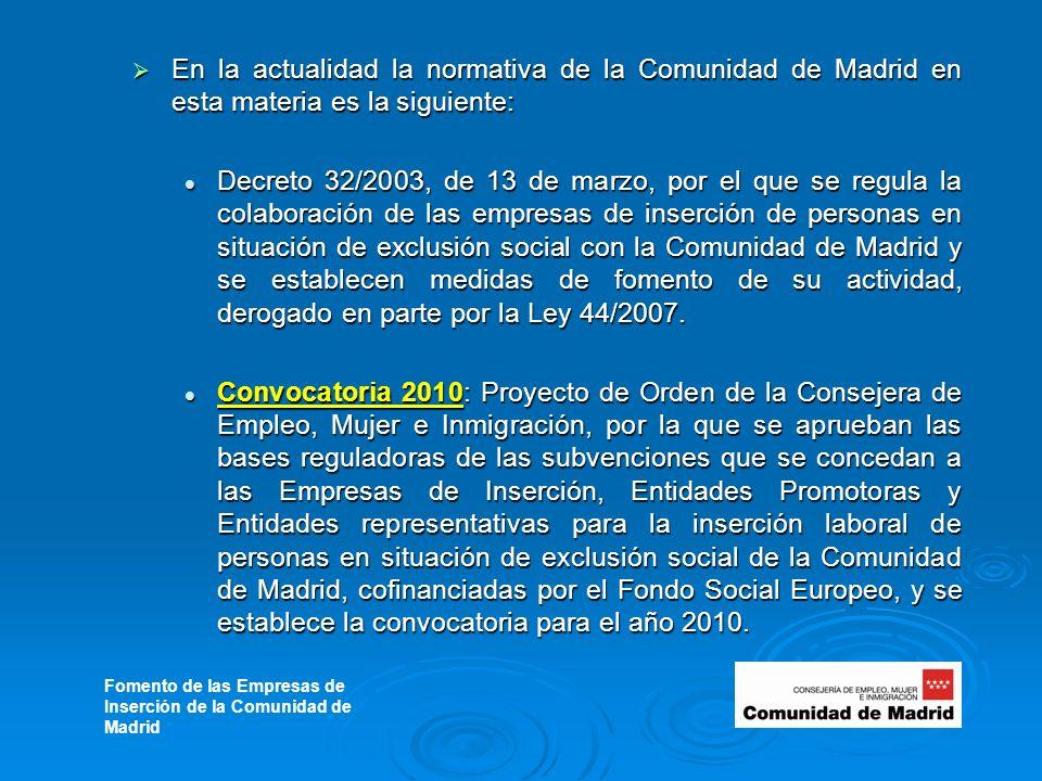 En la actualidad la normativa de la Comunidad de Madrid en esta materia es la siguiente: En la actualidad la normativa de la Comunidad de Madrid en esta materia es la siguiente: Decreto 32/2003, de 13 de marzo, por el que se regula la colaboración de las empresas de inserción de personas en situación de exclusión social con la Comunidad de Madrid y se establecen medidas de fomento de su actividad, derogado en parte por la Ley 44/2007.
