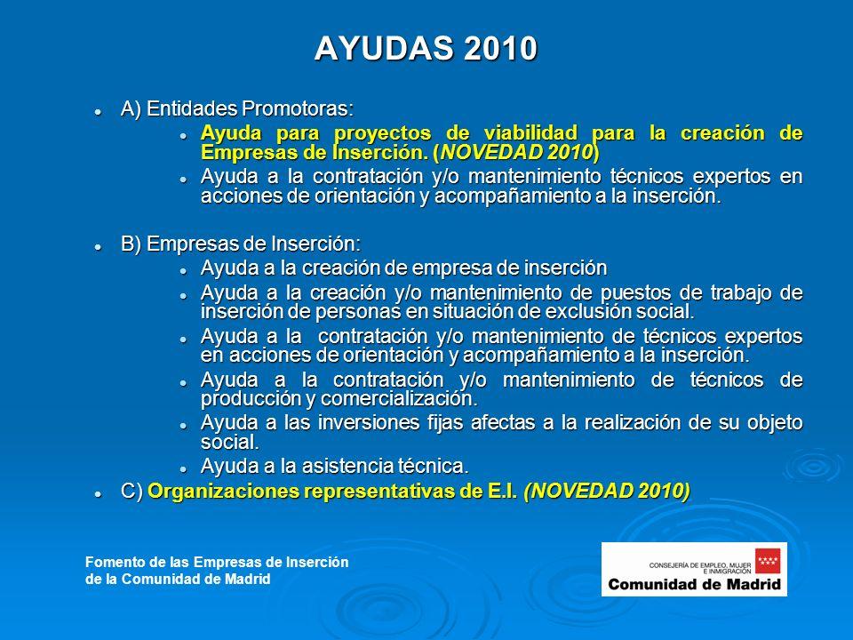 AYUDAS 2010 A) Entidades Promotoras: A) Entidades Promotoras: Ayuda para proyectos de viabilidad para la creación de Empresas de Inserción.