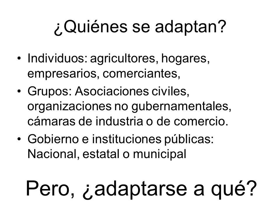 ¿Quiénes se adaptan? Individuos: agricultores, hogares, empresarios, comerciantes, Grupos: Asociaciones civiles, organizaciones no gubernamentales, cá