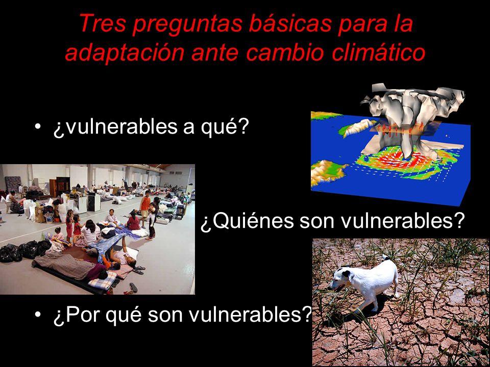 Tres preguntas básicas para la adaptación ante cambio climático ¿vulnerables a qué? ¿Quiénes son vulnerables? ¿Por qué son vulnerables?