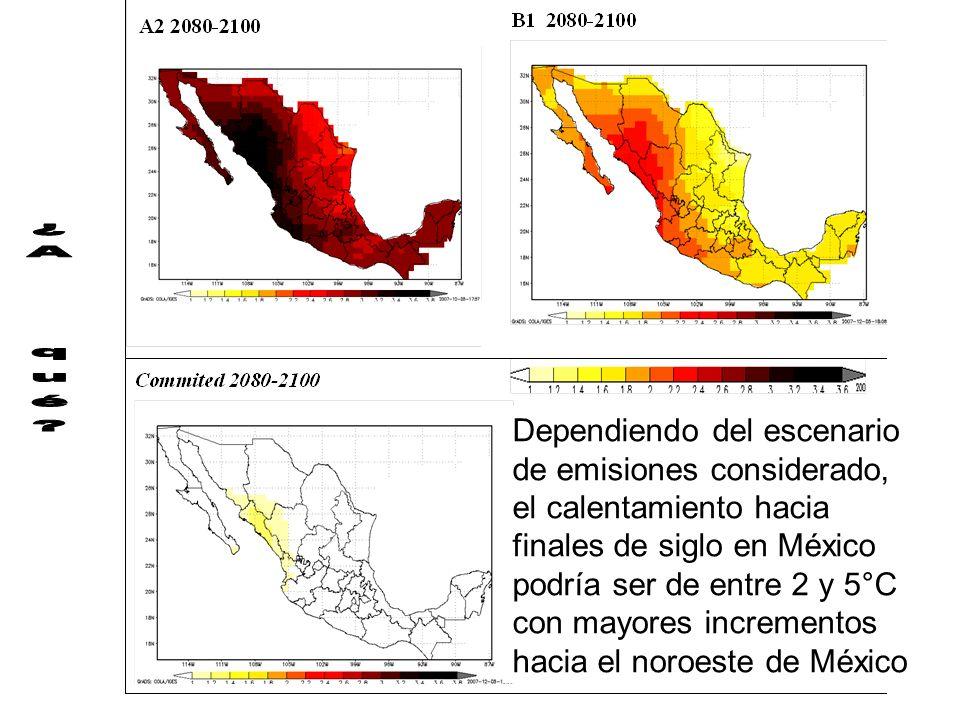 Dependiendo del escenario de emisiones considerado, el calentamiento hacia finales de siglo en México podría ser de entre 2 y 5°C con mayores incremen