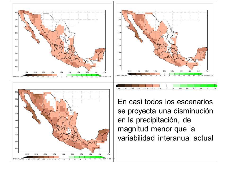 En casi todos los escenarios se proyecta una disminución en la precipitación, de magnitud menor que la variabilidad interanual actual