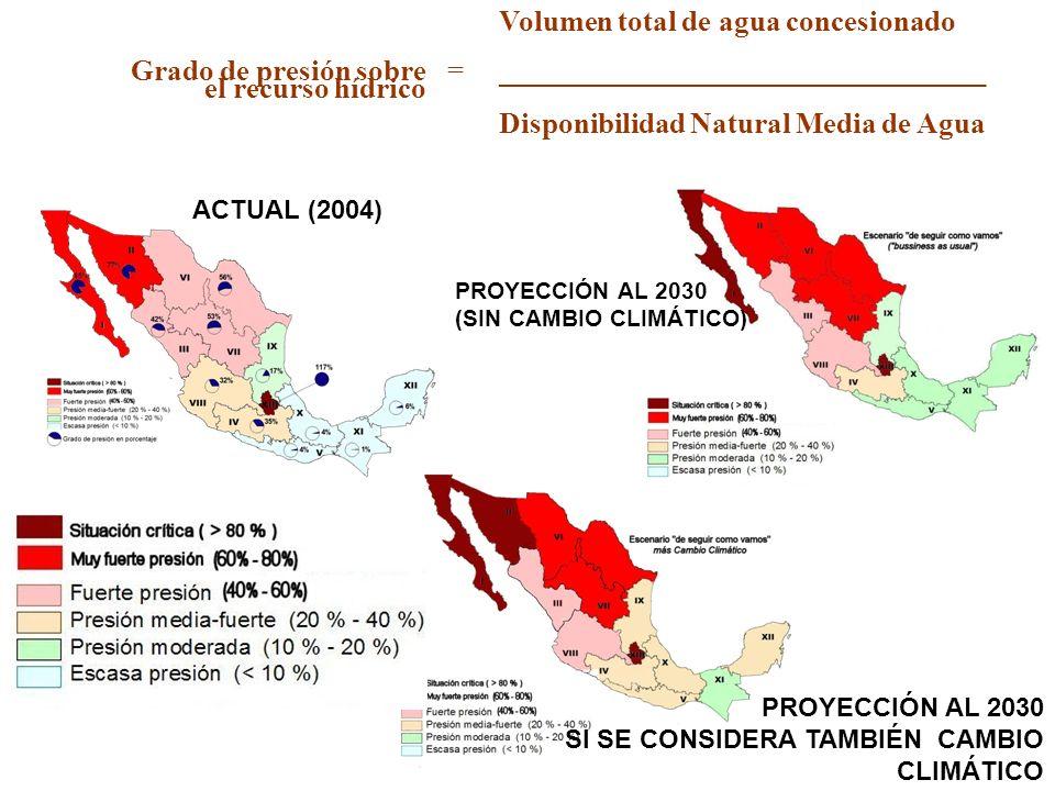 Volumen total de agua concesionado Grado de presión sobre el recurso hídrico =_________________________________ Disponibilidad Natural Media de Agua A