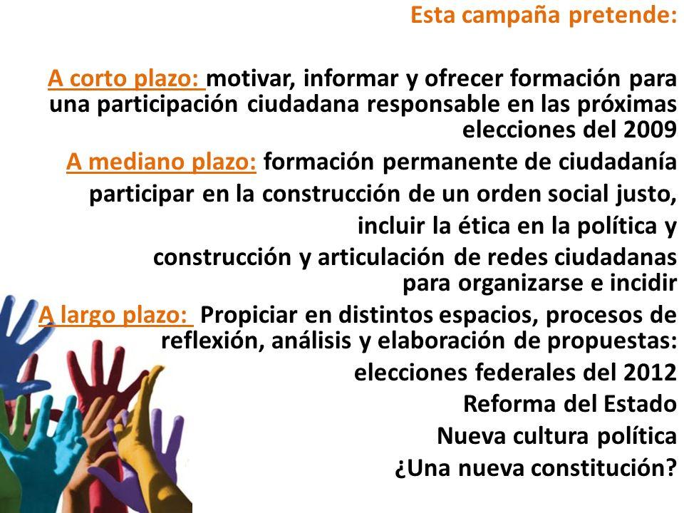 Esta campaña pretende: A corto plazo: motivar, informar y ofrecer formación para una participación ciudadana responsable en las próximas elecciones de