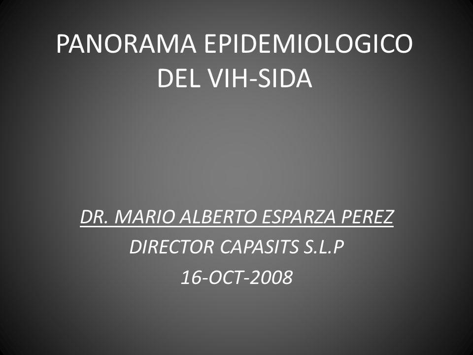 PANORAMA EPIDEMIOLOGICO 2008 PERSONAS QUE VIVIAN CON VIH EN 2007 TOTAL 33.2 MILLONES( 30,6-36,1 MILLONES) ADULTOS 30.8 MILLONES (28,2-33,6 MILLONES) MUJERES 15.4 MILLONES (13,9-16,6 MILLONES) MENORES DE 15 AÑOS 2.5 MILLONES (2,2-2,6 MILLONES) Fuente: UNAIDS ( OMS) 2008